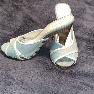 Women's H&M denim blue heel sandal shoe size 8